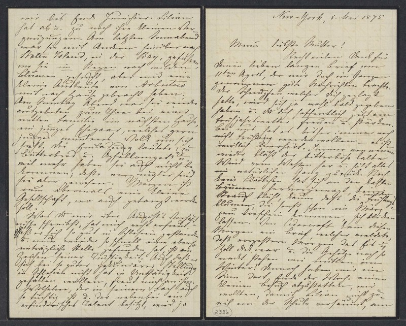 Marie Taylor to Lina Hansen, May 5, 1875
