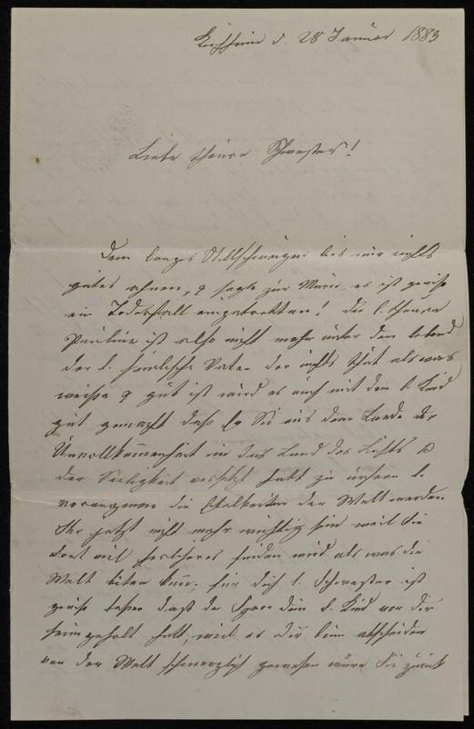 Babette Tritschler to Charlotte von Höfeln, January 28, 1883