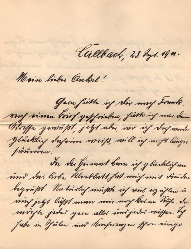 Eugen Haas to Eugen Klee, September 23, 1911