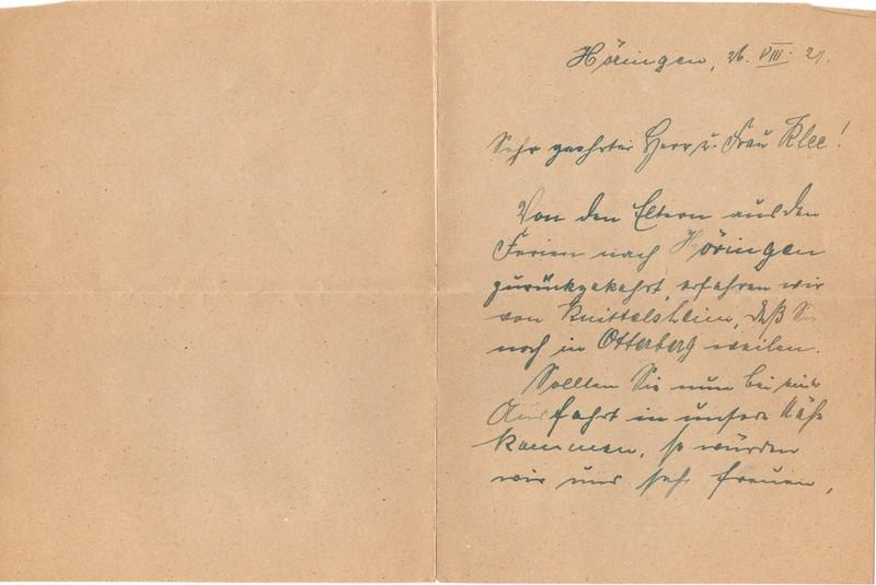 O. Rollmann to Eugen Klee, August 21, 1921