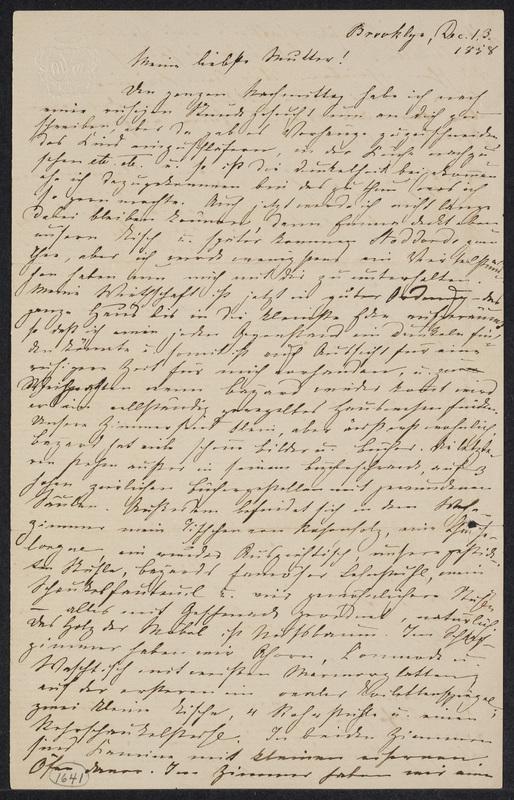 Marie Hansen Taylor to Lina Hansen, December 13, 1858, p. 1