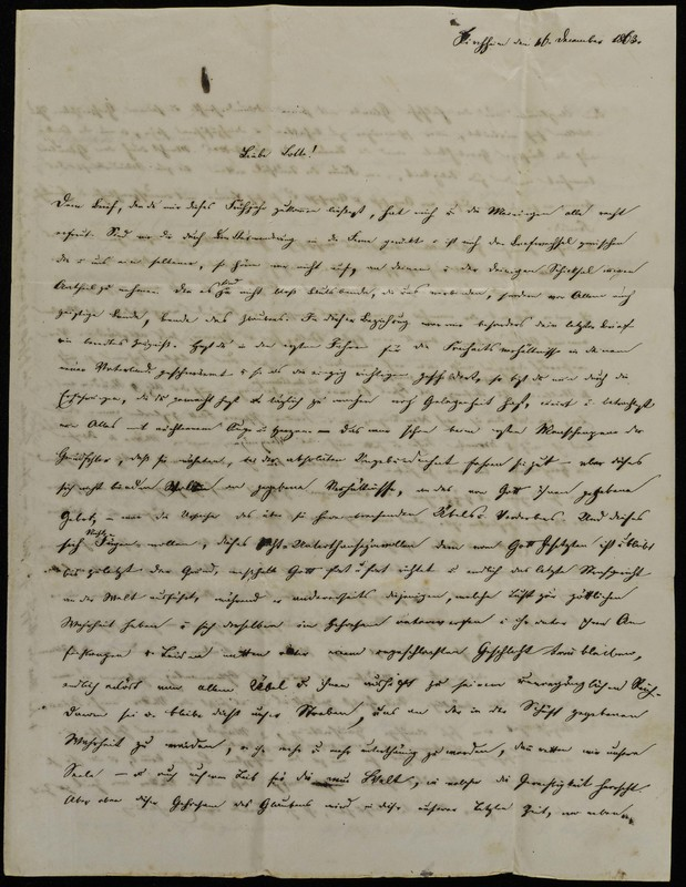 Höfeln family letter, December 16, 1863