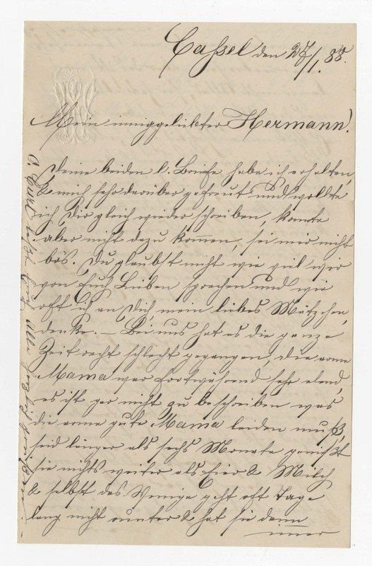 """Therese """"Rosel"""" Winhold to Hermann Crede, January 27, 1888"""