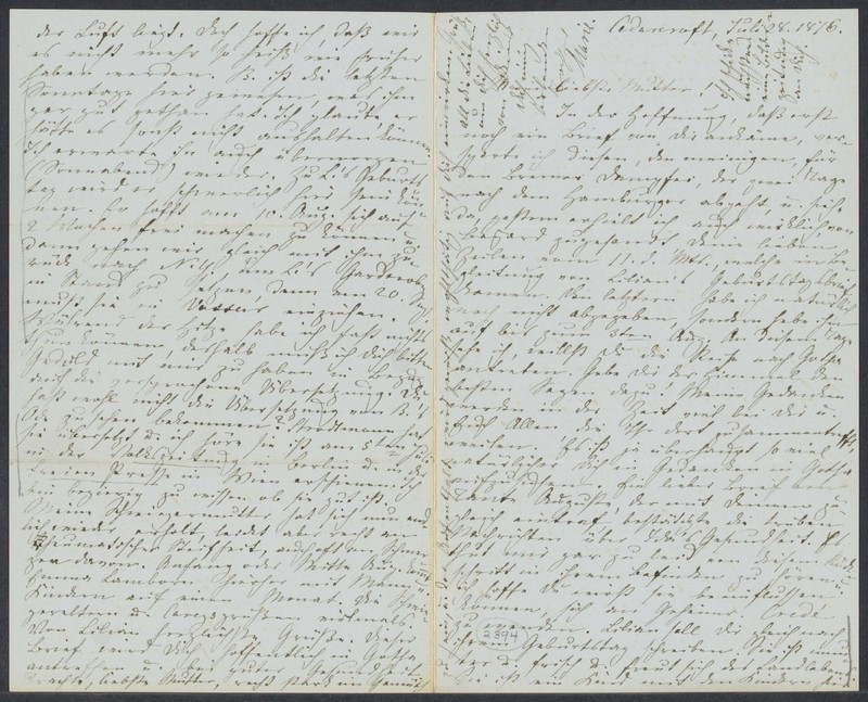Marie Taylor to Lina Hansen, July 28, 1876