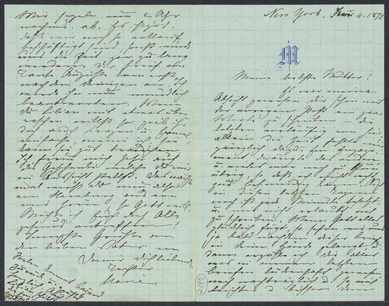 Marie Taylor to Lina Hansen, June 4, 1872