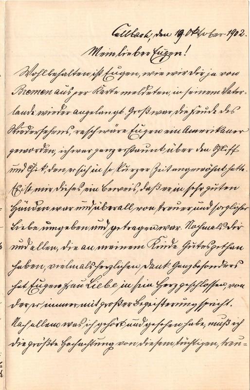 Heinrich Haas to Eugen Klee, October 19, 1902