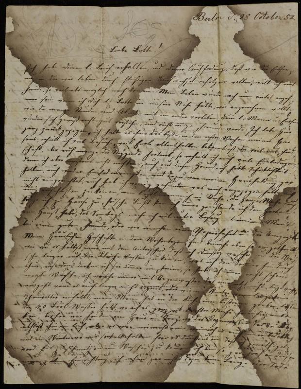 Letter to Charlotte Fischer von Höfeln, October 28, 1852