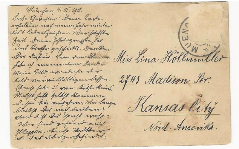 Fritz Höllmüller to Lina Höllmüller, March 4, 1910