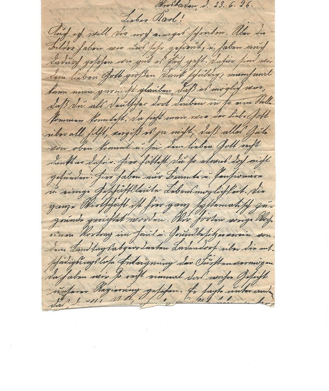 Caroline Emmel to Karl Emmel, June 23, 1926