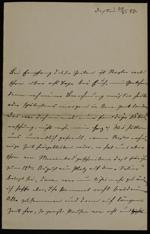 Anna Oppenheim to Margarethe Raster, August 24, 1883