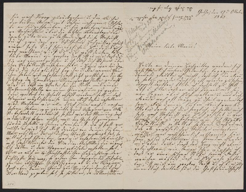 Lina Hansen to Marie Hansen Taylor, October 27, 1863