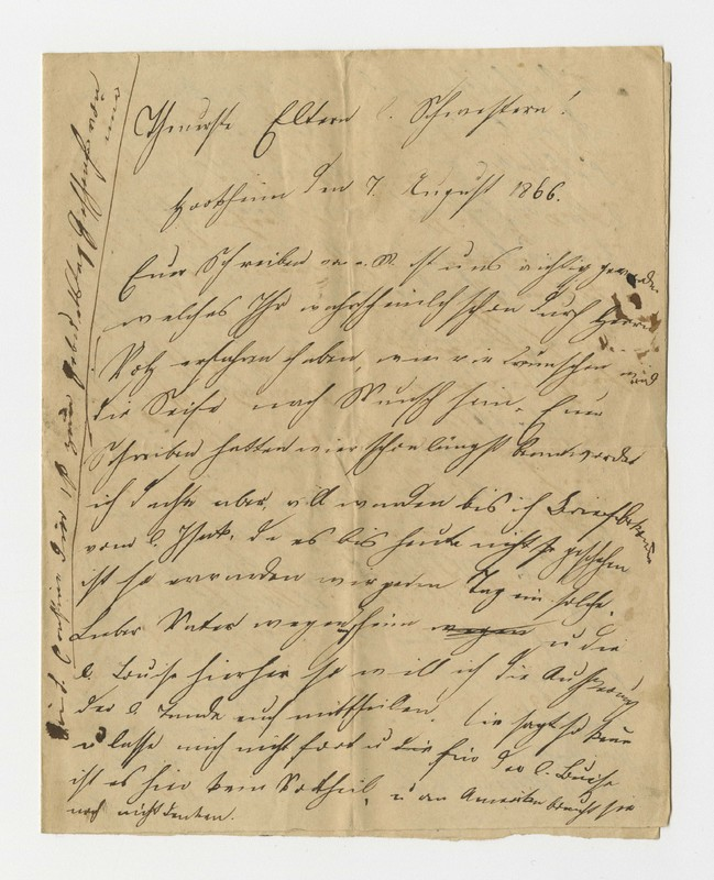 Schweitzer family letter, August 7, 1866