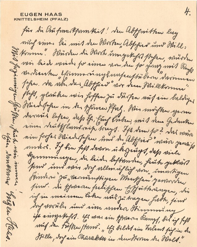 Eugen and Lisbeth Haas to Eugen Klee, March 4, 1928, p. 6