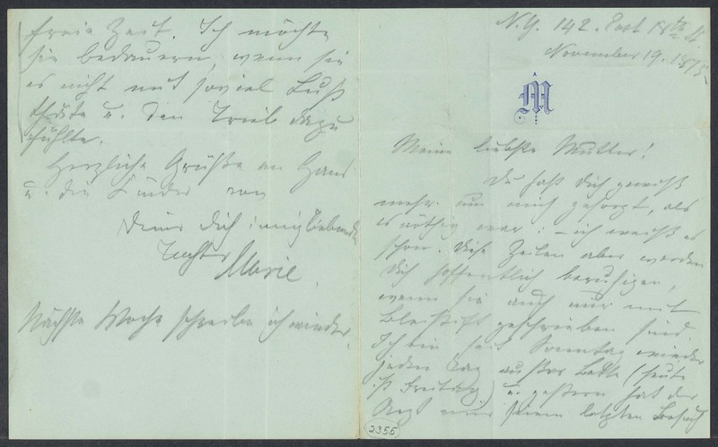 Marie Taylor to Lina Hansen, November 19, 1875