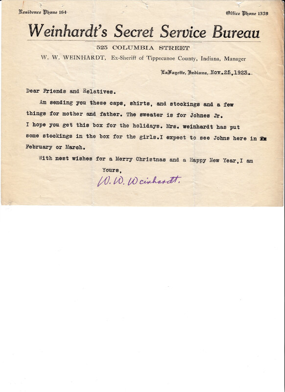William W. Weinhardt to Johann P. Weinhardt, November 25, 1923