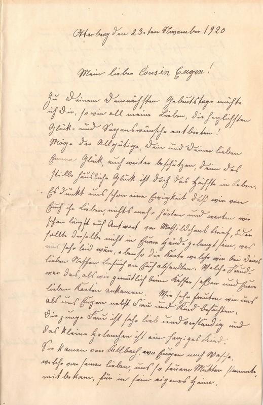 Lenchen Cherdron to Eugen Klee, November 23, 1920, p. 1