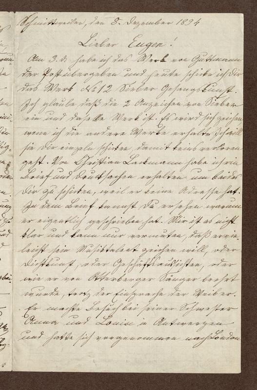 Amalia Haas to Eugen Klee, December 8, 1894