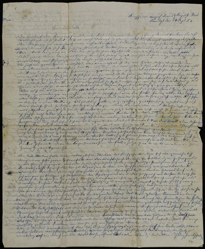 Letter to Charlotte Fischer von Höfeln, September 13, 1852