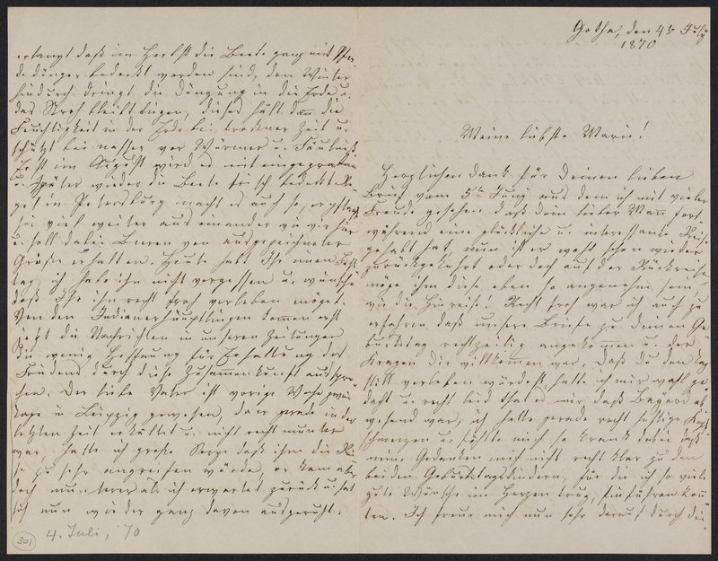Lina Hansen to Marie Taylor, July 4, 1870