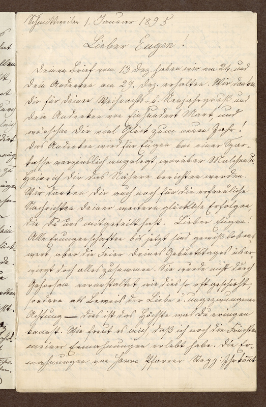 Amalia Haas to Eugen Klee, January 1, 1895