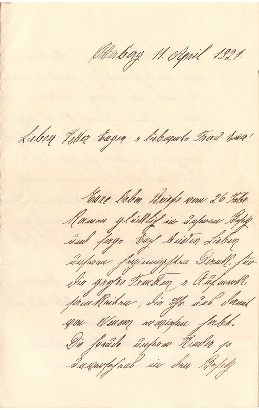 Mathilde Rettig to Eugen Klee, April 11, 1921