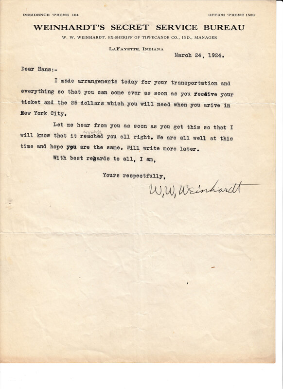 William W. Weinhardt to John V. Weinhardt, March 24, 1924