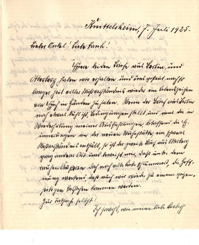 Eugen Haas to Eugen Klee, July 7, 1925, p. 1