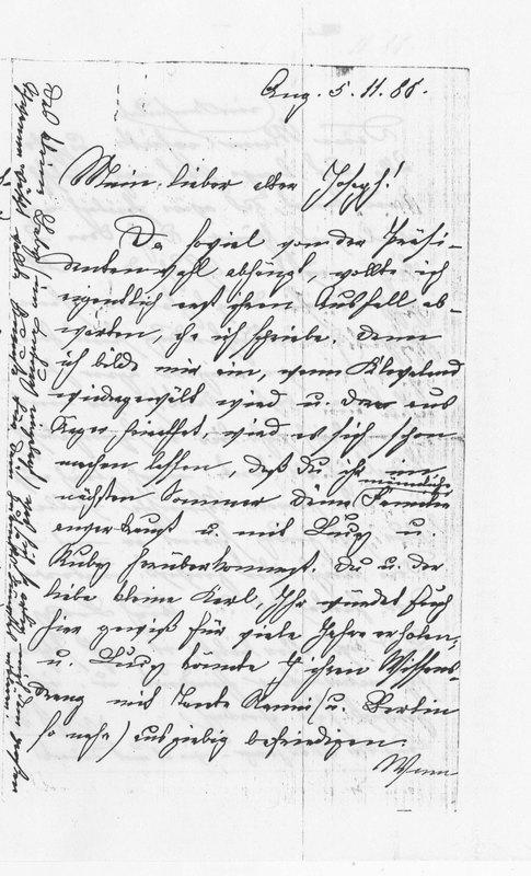 Frieda Amerlan to Josephine Benecke, November 5, 1888