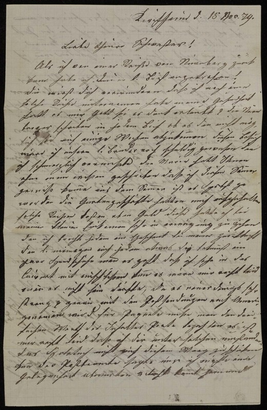 Höfeln family letter, November 15, 1874
