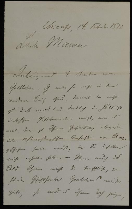 Hermann Raster to Anna Oppenheim, February 14, 1870