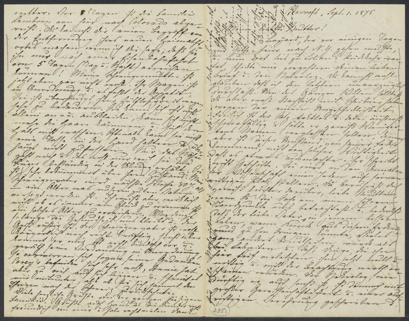 Marie Taylor to Lina Hansen, September 1, 1875
