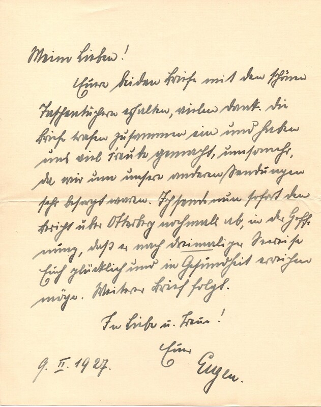 Eugen Haas to Eugen Klee, February 9, 1927