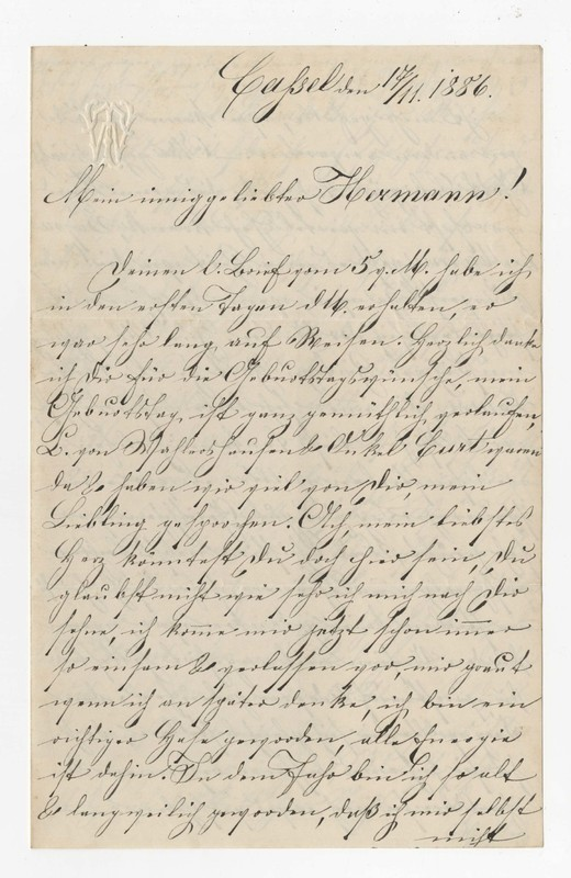 """Therese """"Rosel"""" Winhold to Hermann Crede, November 17, 1886"""
