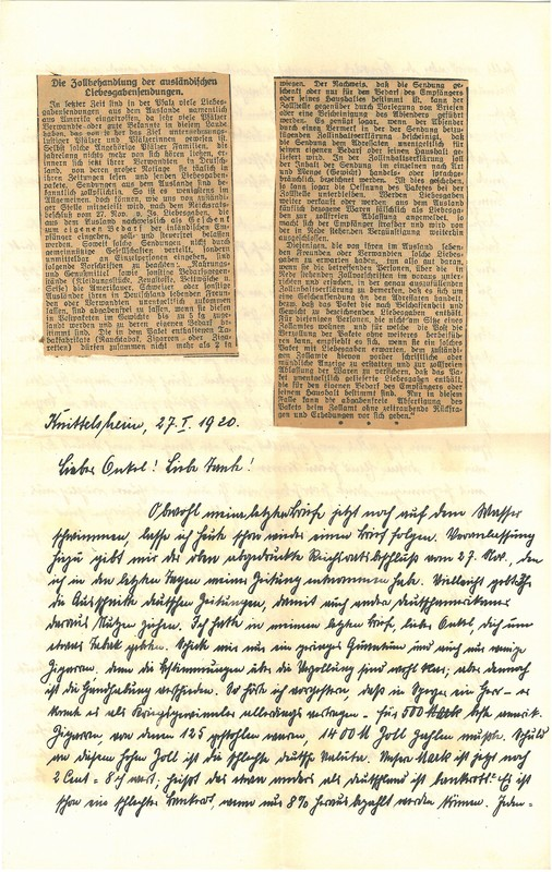Eugen and Lisbeth Haas to Eugen Klee, January 27, 1920