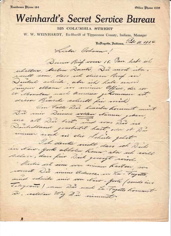 William W. Weinhardt to John V. Weinhardt, February 11, 1924
