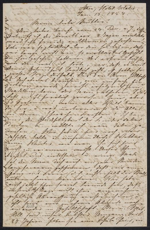 Marie Hansen Taylor to Lina Hansen, January 15, 1858