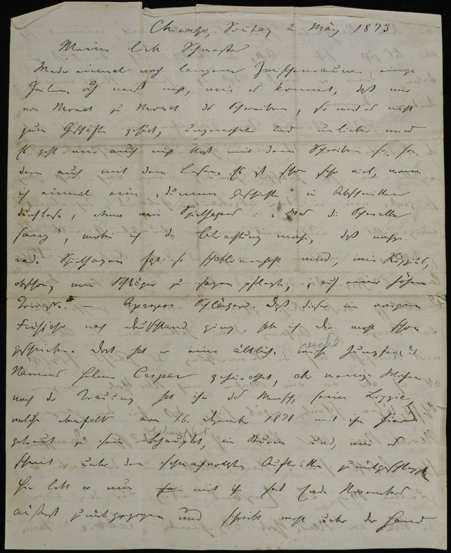 Hermann Raster to Sophie Raster, May 2, 1873