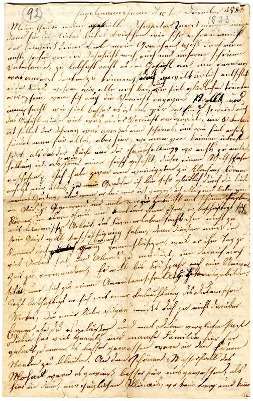 Sophie Engelmann to Margarethe Hilgard, December 10, 1833, p. 1