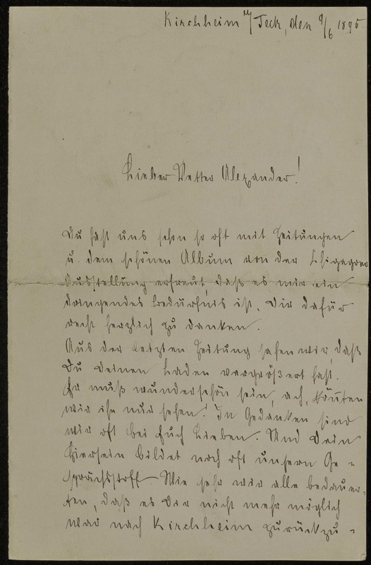 Johanna Schmidt to Alexander Heflin, June 9, 1895