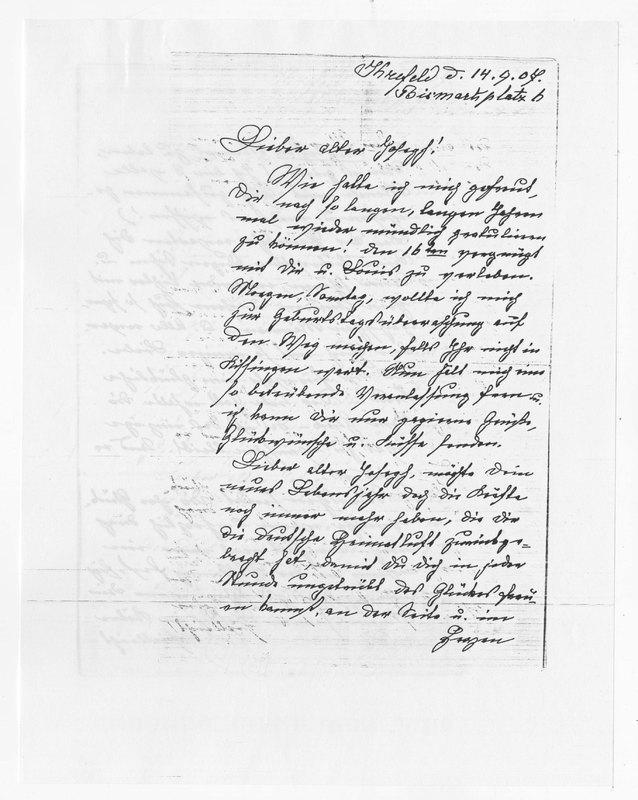 Benecke family letter, September 14, 1907