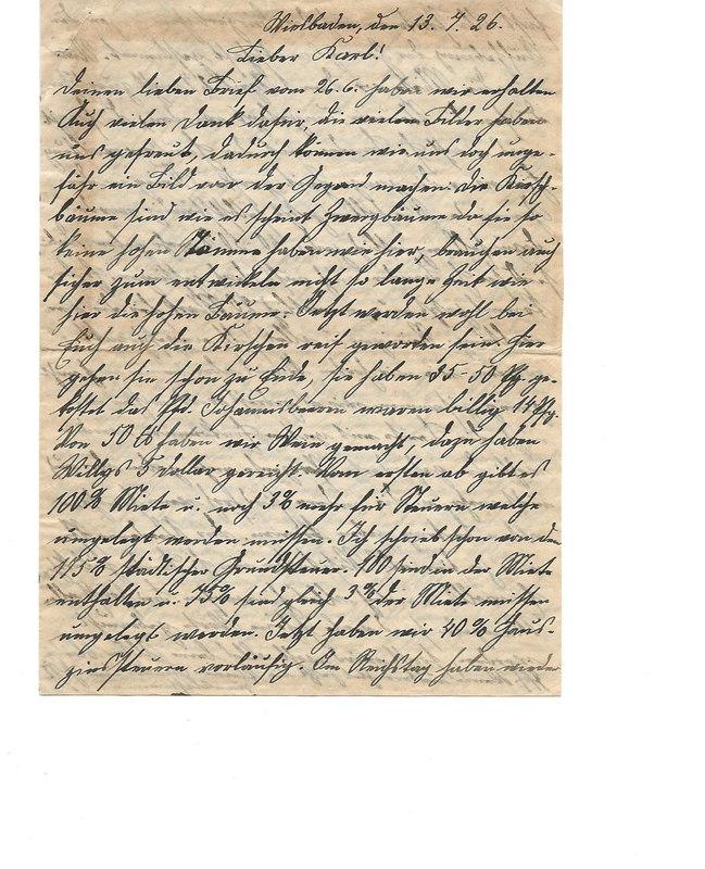 Caroline Emmel to Karl Emmel, July 13, 1926