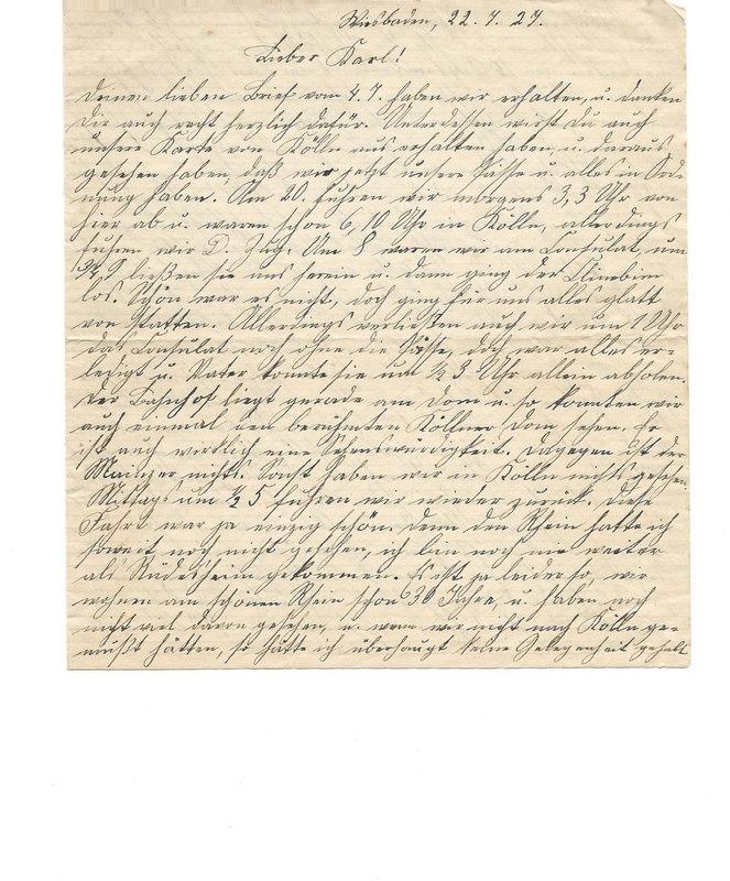 Caroline Emmel to Karl Emmel, July 22, 1927