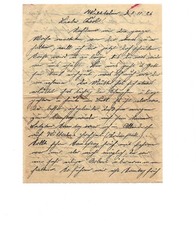 Caroline and Wilhelm Emmel to Karl Emmel, November 5, 1926, p. 1