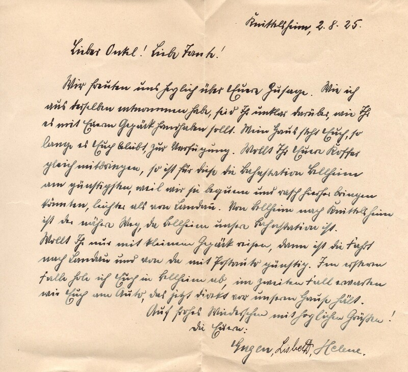 Eugen and Lisbeth Haas to Eugen Klee, August 2, 1925