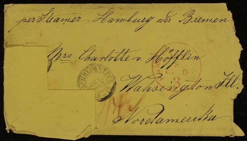 Höfeln family letter, June 5, 1867, envelope (front)