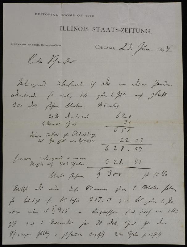 Hermann Raster to Sophie Raster, June 23, 1874