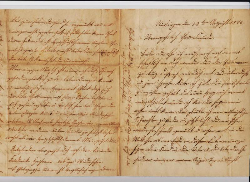 Friederike Haussman to Dorothea Schuhmacher, August 23, 1872