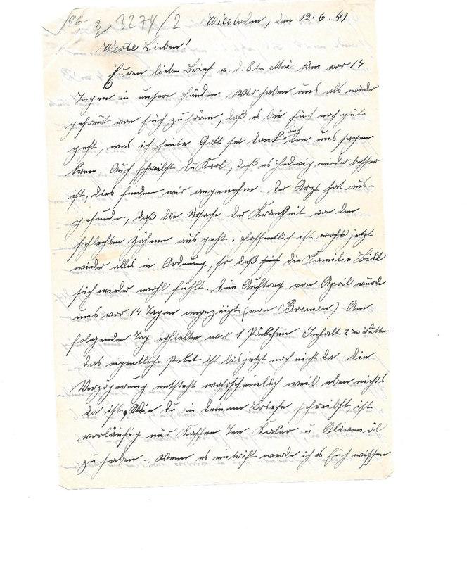 Wilhelm Emmel to Karl Emmel, June 12, 1941
