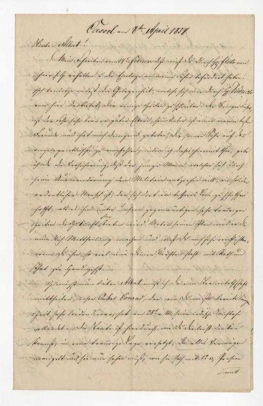 Crede family letter, April 8, 1854