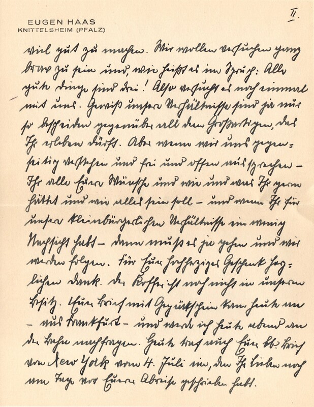Eugen and Lisbeth Haas to Eugen Klee, July 17, 1928, p. 3